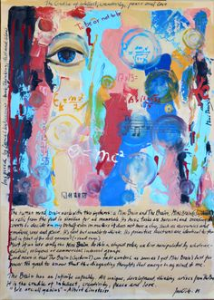 The cradle of intellect, creativity, peace and love. Inspired by Daniel Kahneman`s book, Thinking, fast and slow. 2015 Acrylic 50x70, jusoik