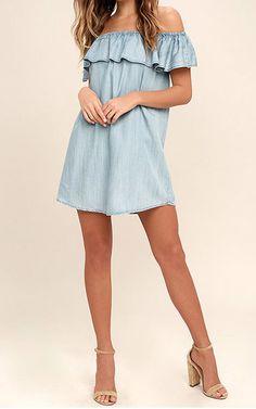 Standout Style Light Blue Chambray Off-The-Shoulder Dress via @bestchicfashion