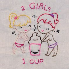 Remember back in the day when my #etsy store sold this 2 Girls 1 cup #handembroidery pattern? Designed by Kittyzilla it was. Not a big seller it was... However it is awesome. So there. #mrxstitch #2girls1cup via The Mr X Stitch official Instagram  Share your stitchy 'grams with us - @mrxstitch #xstitchersofinstagram #mrxstitch