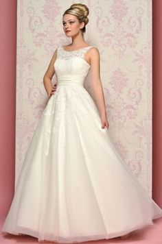 Ball Gown Wedding Dresses : Be a 50s bride in the beautiful vintage tulle Milly dress with appliques on th