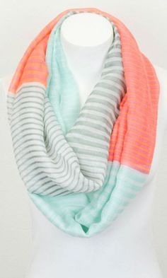 Mint + Coral Scarf //