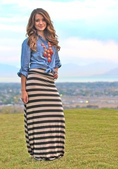 Striped Maxi-Skirts - Super Comfy! Perfect for Fall! | Very Jane