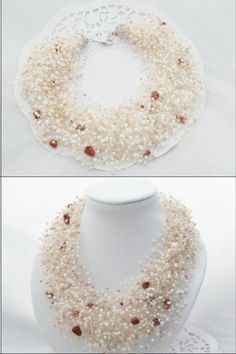 FREE SHIPPING Beige necklace Ivery necklace golden cream milk necklace Luxuriant air dairy wedding necklace multistrand necklace bib - pinned by pin4etsy.com