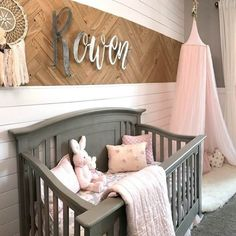SWOONING over this amazing shiplap-meets-herringbone-wood accent wall. Who wants - Brooklyn Baby Name - Ideas of Brooklyn Baby Name - SWOONING over this amazing shiplap-meets-herringbone-wood accent wall. Baby Nursery Decor, Baby Bedroom, Project Nursery, Nursery Room, Nursery Ideas, Babies Nursery, Baby Bedding, Wood Wall Nursery, Accent Wall Nursery