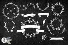 Chalkboard wreaths, laurels, ribbons by GrafikBoutique on Creative Market