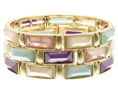 LUCITE AND METAL STRETCH BRACELET | Petals Collection | FP for Fifth