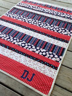 Baby Quilts Custom Personalized Baseball Baby Quilt by TSCEmbroidery on Etsy Baby Boy Baseball, Baseball Quilt, Baseball Nursery, Quilting Projects, Quilting Designs, Sewing Projects, Quilting Templates, Quilting Tips, Machine Quilting