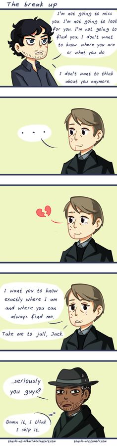The breakup by Tenshi-no-Hikari on DeviantArt - This is soo cute! Look at cute little Hannibal q-q lol. So I never watch the show, but i totally ship it of the bits i've seen XD Should I watch? :o