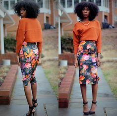 Jennifer W - H&M Long Sleeve Crop Top, H&M Floral Midi Skirt - Blooming in the Winta'