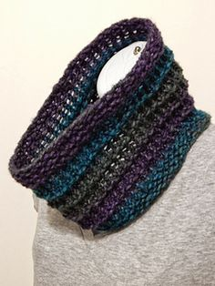 """This loom knit cowl uses a 48 peg round loom with a gauge of 5/8"""". Examples of a loom this size include the original purple Knifty Knitter round loom & the adult hat round loom with the same specifications made by Premium Knitting Looms/CinDWood Crafts."""