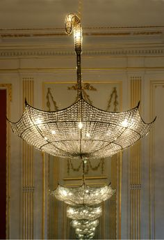 these fantastic umbrella shaped chandeliers !!!