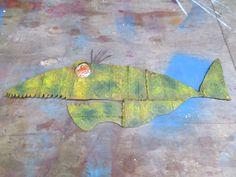 Scrap Metal Fish, painted,glass eye