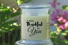 Thankful For You Candle Card  Gift of a Natural Soy Candle