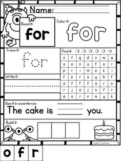 Kindergarten Homeschool Curriculum, Homeschool Kindergarten, Preschool Learning, Kindergarten Reading, Learning Games, Homeschooling, Sight Word Worksheets, Sight Word Activities, School Worksheets