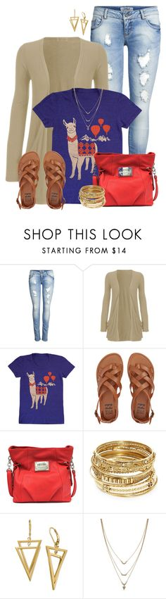 """Llama Tee"" by angelysty ❤ liked on Polyvore featuring ONLY, WearAll, Billabong, Nicole By Nicole Miller, ABS by Allen Schwartz and Jessica Simpson"