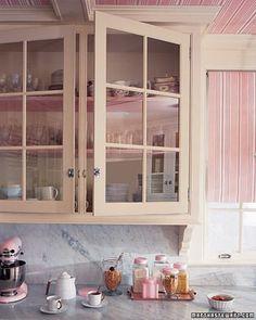 LOVE countertops and glass cabinet doors