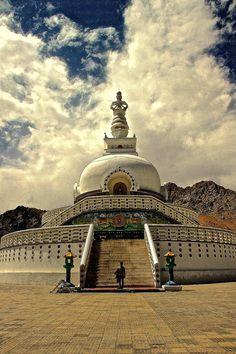 Shanti Stupa [ in Leh, Ladakh, Jammu Kashmir, India] was built in 1991 by Japanese Buddhist Bhikshu Gyomyo Nakamura . The Shanti Stupa holds the relics of the Buddha at its base, enshrined by the Dalai Lama himself. by Vamsi Krishna Ladakh India, Leh Ladakh, Varanasi, Taj Mahal, Temples, Nepal, India Landscape, Places Around The World, Around The Worlds