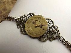 Steampunk Clock Bracelet Victorian Style Antiqued Brass Chain on Etsy, $17.60