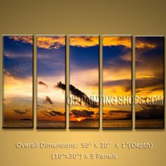 Pentaptych Contemporary Wall Art Seascape Sunrise Canvas Stretched. In Stock $155 from OilPaintingShops.com @Bo Yi Gallery/ ops3236