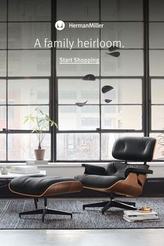 Bring home both comfort and style this year, and every year, with the Eames Lounge Chair and Ottoman. Home Living Room, Living Room Decor, Chair And Ottoman, Sofa Chair, Man Office, Ottoman Design, Office Space Design, Take A Seat, Mid Century Furniture