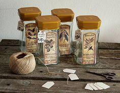 HaM / 4ks sklenných kuchynských dóz Glass jars makeover diy with rice paper