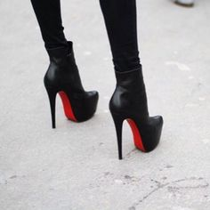 Christian Louboutin | shoes | Heels | booties | red sole | black | sexy | fierce |