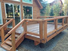 """Architectural Wire Mesh - Tahoe Donner home with a 4""""mesh x 3ga. Woven wire. With a Flat Black powder coating. www.wireelements.com"""