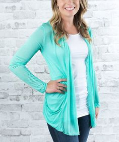 Another great find on #zulily! Olivia & Jane Mint Open Cardigan by Olivia & Jane #zulilyfinds