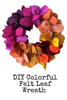 Step by step tutorial to make your own DIY Colorful Felt Leaf Wreath Easy Diy Crafts, Diy Craft Projects, Craft Tutorials, Fall Crafts, Felt Wreath, Diy Wreath, Felt Squares, Felt Leaves, Leaf Garland