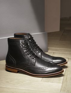 Boot Up: A sophisticated staple, tailored to perfection. 👌 Shop from our bio link. Leather Brogues, Leather Boots, Black Leather, Mens Brogue Boots, Mens Shoes Boots, Cow Leather, Real Leather, Mens Boots Fashion, Mens Boots Style