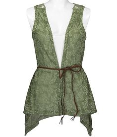 Floral and crochet vest, I'd wear a simple lace cream colored tank or tunic underneath..Not quite sure.