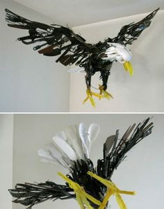 Spatulas, measuring cups, serving forks and spoons come together in this awesome found object sculpture of an eagle by Japanese artist Sayak...
