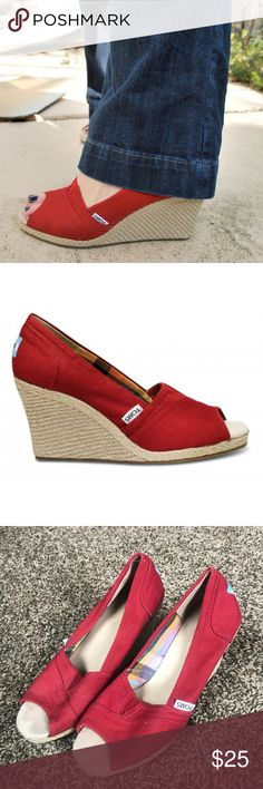 Red Toms Wedges Size 7 toms red Wedges! Worn but in great condition Toms Shoes Wedges