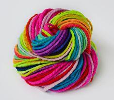 Neon Rainbow - Handspun wool blend art yarn by 222 Handspun
