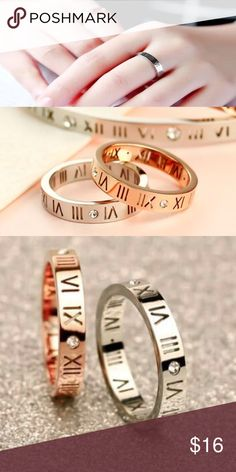Special Price ❤️Roma Numbers Roman Numbers Rose Gold Plated Stainless Steel Ring. Trendy! Rose Gold color. Size: 6. Jewelry Rings