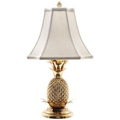 Tropical Brass White Shade Pineapple Table Lamp - #J8860 | LampsPlus.com