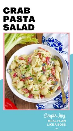 Crab Recipes, Pasta Recipes, Salad Recipes, Cooking Recipes, Crab Pasta Salad, Best Pasta Salad, Pasta Dishes, Seafood Dishes, Vegetarian Recipes