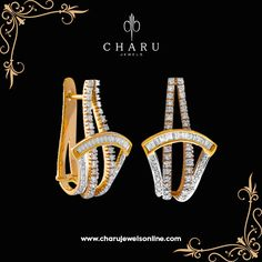 Luxurious Diamond Gold Earrings Mix and match the stunning Luxurious diamond studded gold pair of earrings to get the on-trend vibes #diamond  #floral #designing #combination #jewelery  #fashion #jewelery #party #wear #daily #use  #charu #jewels www.charujewelsonline.com