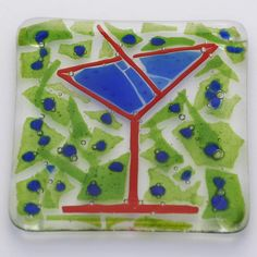 Cheers! martini glass fused glass plate