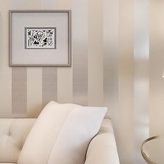 The new non-woven flocking simple striped wallpaper bedroom living room study 53cm US $42.00
