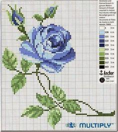 Schemi a punto croce gratuiti per tutti: Schema punto croce; boccioli di rose, papaveri e farfalle