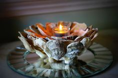 Must do this for the tables!!    Beach Decor Oyster Shell Candle Holder by ByTheSeashoreDecor, $65.00