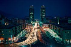 At night, the city lights and traffic in Caracas, Venezuela, show a flourishing metropolis, January 1963.