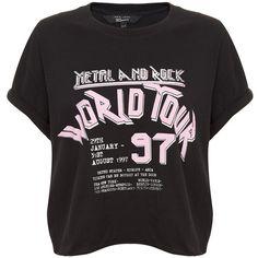 Teens Black World Tour Metal Rock T-Shirt ❤ liked on Polyvore featuring tops, t-shirts, shirts, metal shirts, shirt top, t shirt, slogan shirts and rock metal t shirts