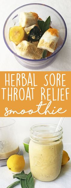 Throat Smoothie Herbal Sore Throat Relief Smoothie: Get some natural relief for your sore, achey throat with this smoothie home remedy.Herbal Sore Throat Relief Smoothie: Get some natural relief for your sore, achey throat with this smoothie home remedy. Cold Remedies, Natural Home Remedies, Natural Healing, Herbal Remedies, Holistic Healing, Health Remedies, Bloating Remedies, Milk Shakes, Sore Throat Relief