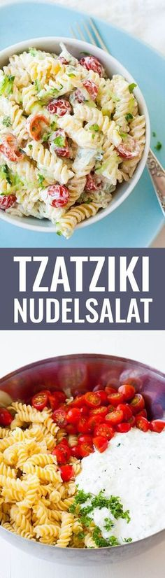 Tzatziki Nudelsalat ZUTATEN 500 g Pasta ½ Gurke 3 Knoblauchzehen 250 g Sahnequark 20 % 100 g Creme Fraiche 250 g kleine Tomaten Salz und Pfeffer Olivenöl pasta pasta pasta pasta bake recipes rezepte sauce Veggie Recipes, Pasta Recipes, Salad Recipes, Vegetarian Recipes, Cooking Recipes, Healthy Recipes, Cooking Pasta, Grilling Recipes, Tzatziki