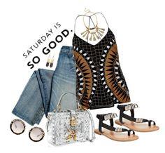 """Saturday is so good"" by juliehooper ❤ liked on Polyvore featuring River Island, Dolce&Gabbana, Bar III, Miu Miu, Steve Madden and Stella & Dot"