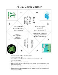 Check out this fun cootie catcher (fortune teller) for Pi Day!