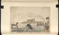 1807.Bodleian Libraries,Gulliver towing the fleet into Lilliput.Satire on the siege of Copenhagen.(British political cartoon);A satire on the capture of the Danish fleet,7 Sept.1807.George III repeats his pose as the king of Brobdingnag. Standing on a Martello tower, he looks through a spyglass at Admiral Gambier who tows the Danish fleet towards England.Napoleon and his allies, Spain,Germany,Holland and Russia, watch from the further shore.Talleyrand kneels behind Napoleon.