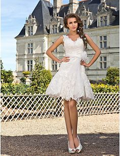 Casual Trumpet/Mermaid V Neck Dropped Waist Floor Length Lace Ivory Wedding Dresses shortwd017 - Vdear Bridal